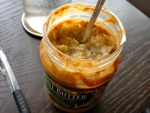 one of my favorite breakfasts—oatmeal in an almost-empty peanut butter jar