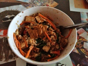 oats with flax, gram masala, ginger, cinnamon, spinach, shredded carrots, cranberries, leftover tofu, and peanut butter