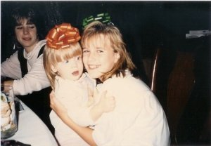 My in my Nickelodeon days—I'm the one freaking out in the orange bow