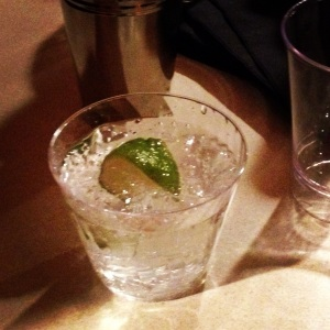 My drink of the night was gin & club soda--alternating with water!