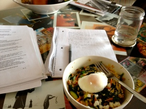 Savory oatmeal with veggies plus goat cheese & a poached egg