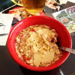 plum tahini oats