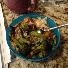 Oats with egg whites, chia seeds, roasted veggies, and hummus
