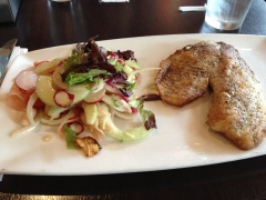 tilapia & funny little salad with lots of picked veggies