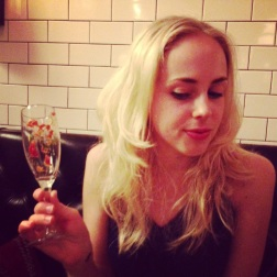 Saturday night-at least my prosecco glass was almost empty when I knocked it over the calamari