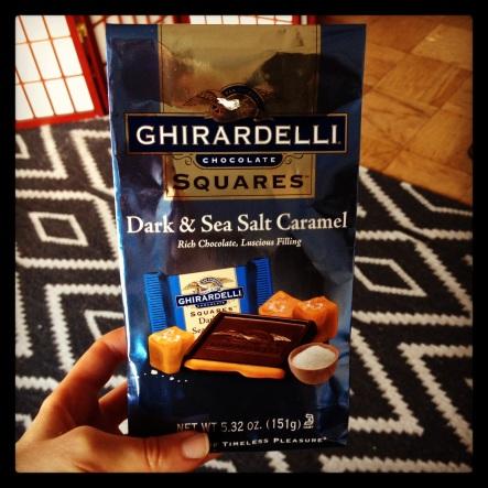 dark chocolate with caramel and sea salt