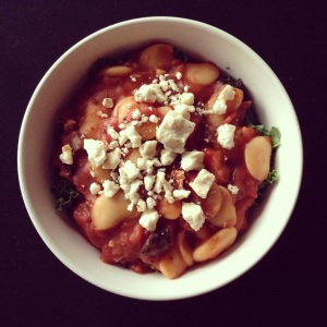 butter beans in spicy red sauce