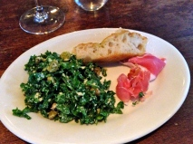Kale salad, prosciutto, focaccia