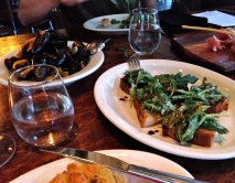 mussels, crostini with cannellini puree, arugula, and aged balsamic