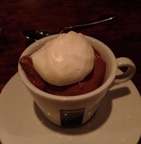 Chocolate pudding with crema