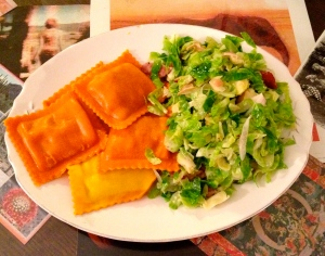 pumpkin ravioli with brussels
