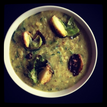 savory oats with brussels sprouts