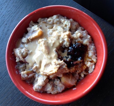 plum tahini oats with fig preserves